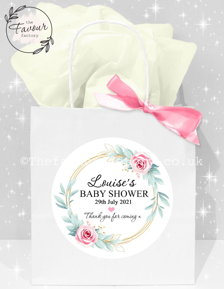 Baby Shower Party Bags Gold Leaf Roses Frame x1