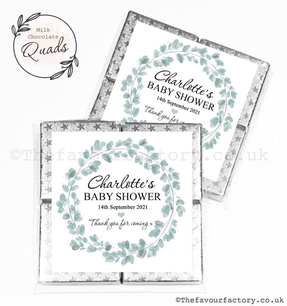 Baby Shower Chocolate Quads Favours Eucalyptus Wreath x1