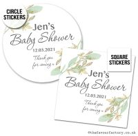 Baby Shower Stickers Botanical Gold Leaves x1 A4 Sheet.