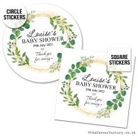 Baby Shower Stickers Botanical Gold Dust x1 A4 Sheet.