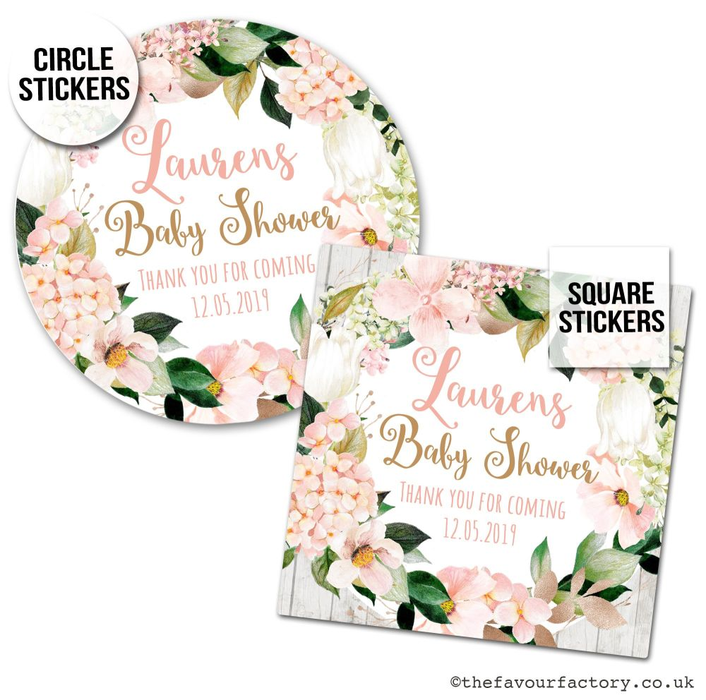 Baby Shower Stickers Blush Hydrangeas x1 A4 Sheet.