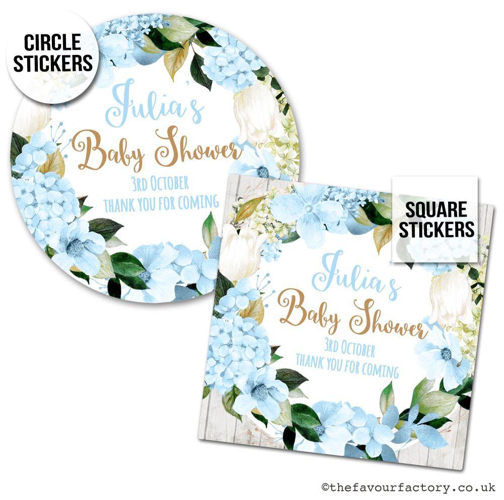 Baby Shower Stickers Blue Hydrangeas x1 A4 Sheet.