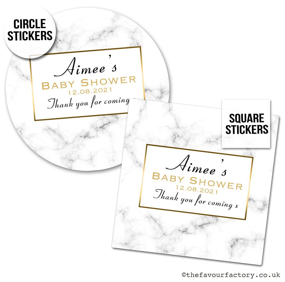 Baby Shower Stickers Floral Marble Print x1 A4 Sheet.