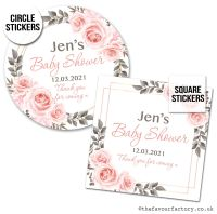 Baby Shower Stickers Blush Roses Frame x1 A4 Sheet.