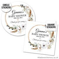 Baby Shower Stickers Bohemian Wreath x1 A4 Sheet.
