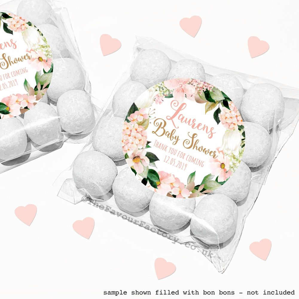 Baby Shower Sweet Bags Kits Blush Hydrangeas x12