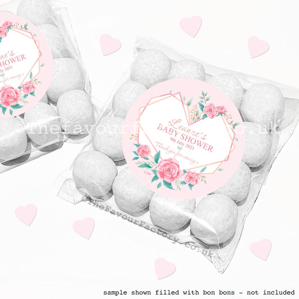 Baby Shower Sweet Bags Kits Geometric Floral Heart x12