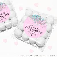 Baby Shower Sweet Bags Kits Pink Sparkle Glitter Confetti x12