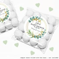 Baby Shower Sweet Bags Kits Floral Eucalyptus Gold Leaf x12