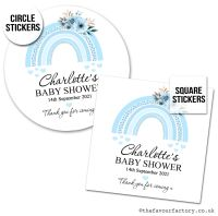 Baby Shower Stickers Blue Floral Rainbow x1 A4 Sheet.