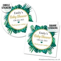 Baby Shower Stickers Tropical Palm Leaves x1 A4 Sheet.