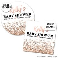 Baby Shower Stickers Rose Gold Glitter Confetti x1 A4 Sheet.