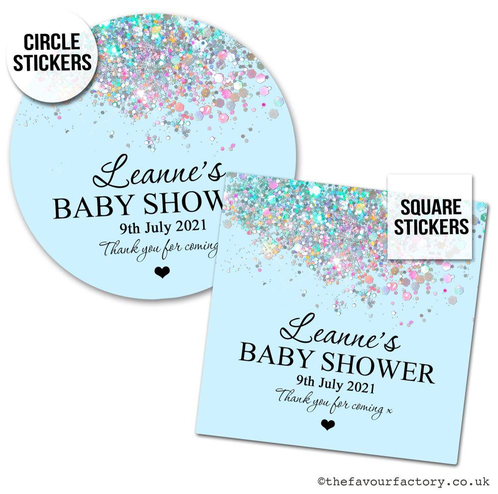 Baby Shower Stickers Blue Sparkle Glitter Confetti x1 A4 Sheet.