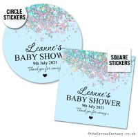 Baby Shower Stickers Blue Sparkle Glitter Confetti x1 A4 Sheet.