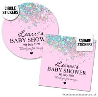 Baby Shower Stickers Pink Sparkle Glitter Confetti x1 A4 Sheet.