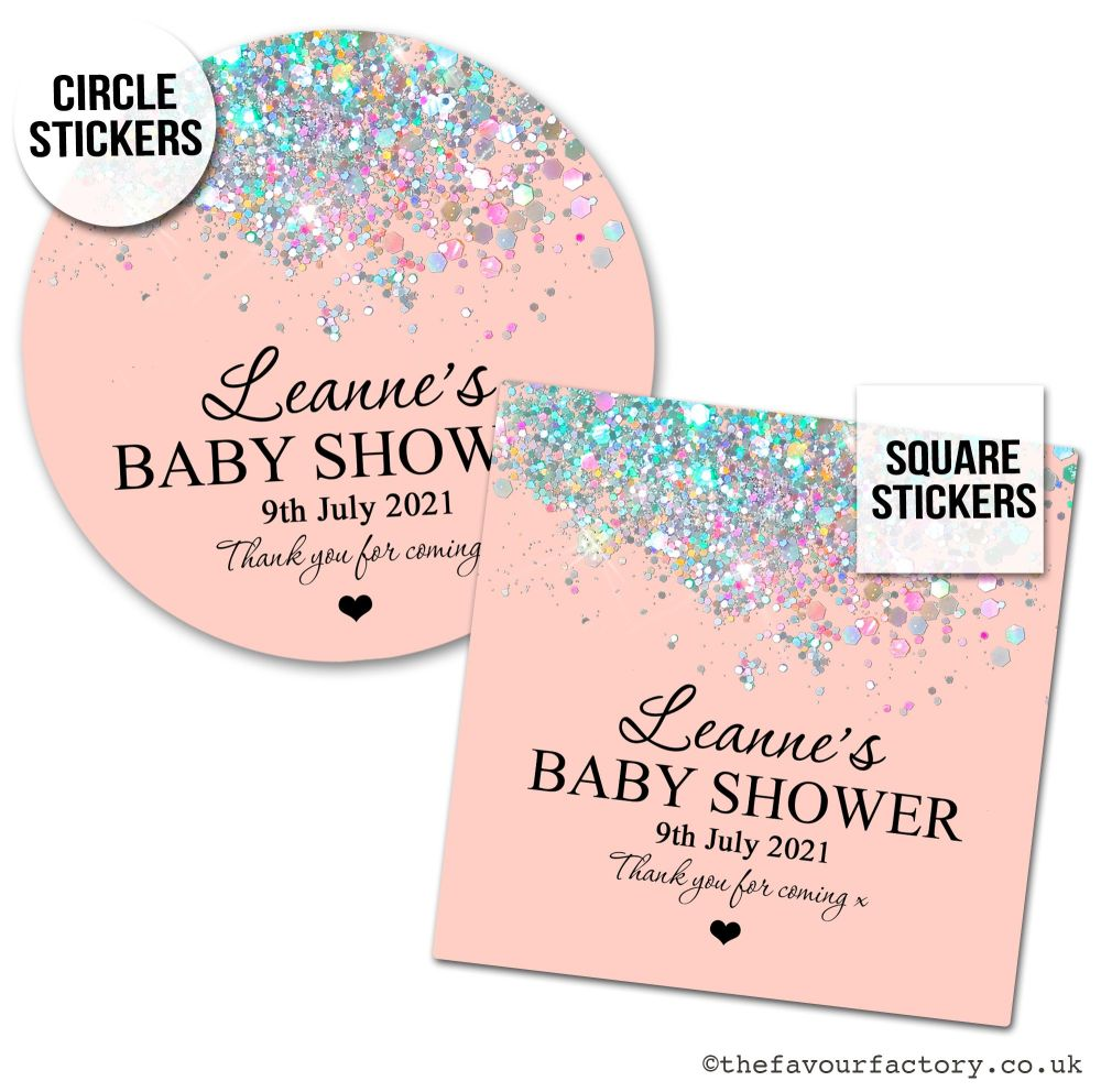 Baby Shower Stickers Rose Gold Sparkle Glitter Confetti x1 A4 Sheet.