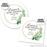 Baby Shower Stickers Botanical Gold Frame x1 A4 Sheet.