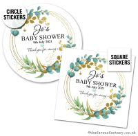 Baby Shower Stickers Eucalyptus Gold Leaf x1 A4 Sheet.