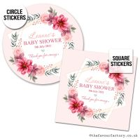 Baby Shower Stickers Floral Star Frame x1 A4 Sheet.