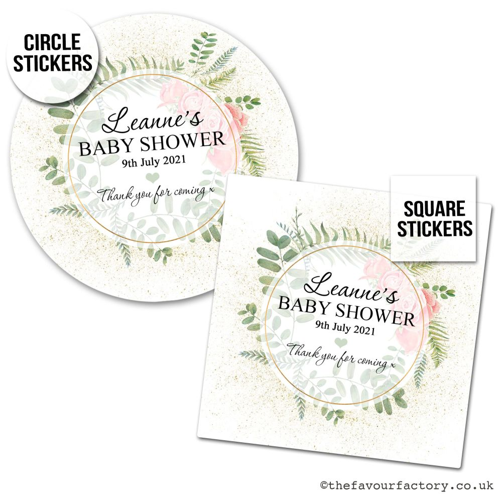 Baby Shower Stickers Gold Dust Roses x1 A4 Sheet.