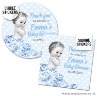 Baby Shower Stickers Vintage Baby Boy x1 A4 Sheet.