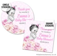 Baby Shower Stickers Vintage Baby Girl x1 A4 Sheet.