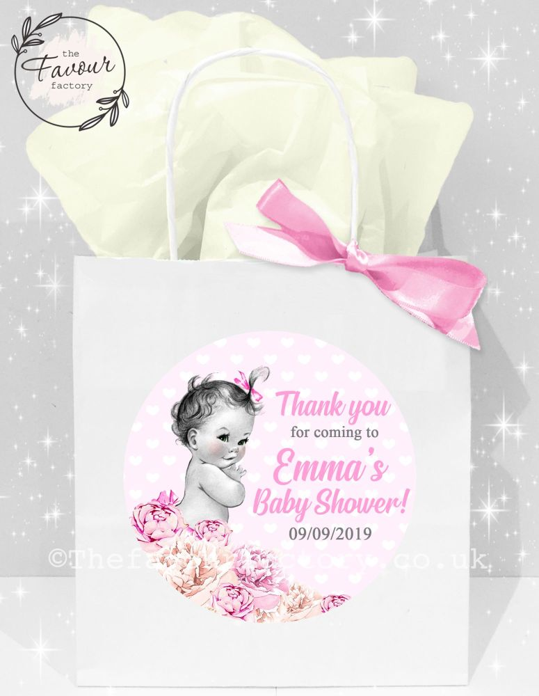 Baby Shower Party Bags Vintage Baby Girl x1