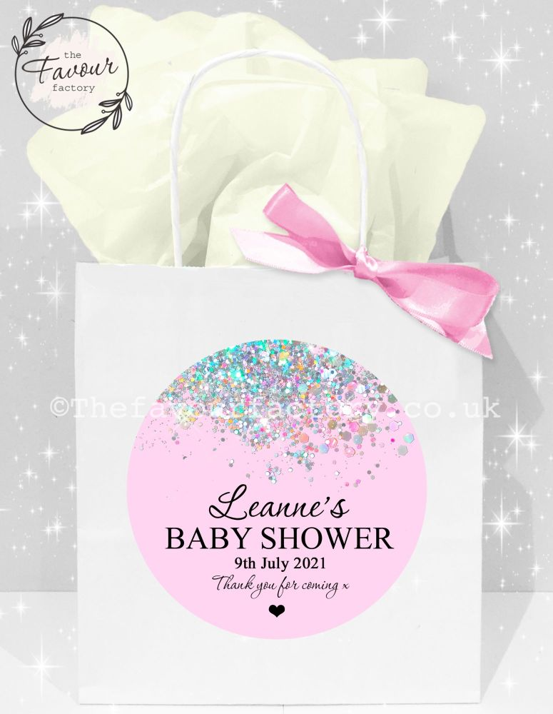 Baby Shower Party Bags Pink Glitter Confetti x1