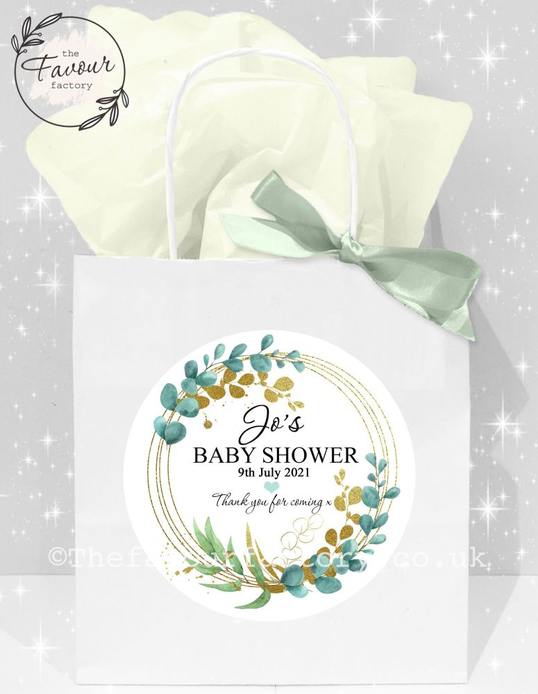 Baby Shower Party Bags Eucalyptus Gold Leaf x1
