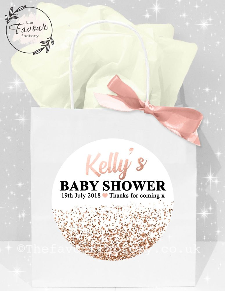 Baby Shower Party Bags Rose Gold Glitter Confetti x1