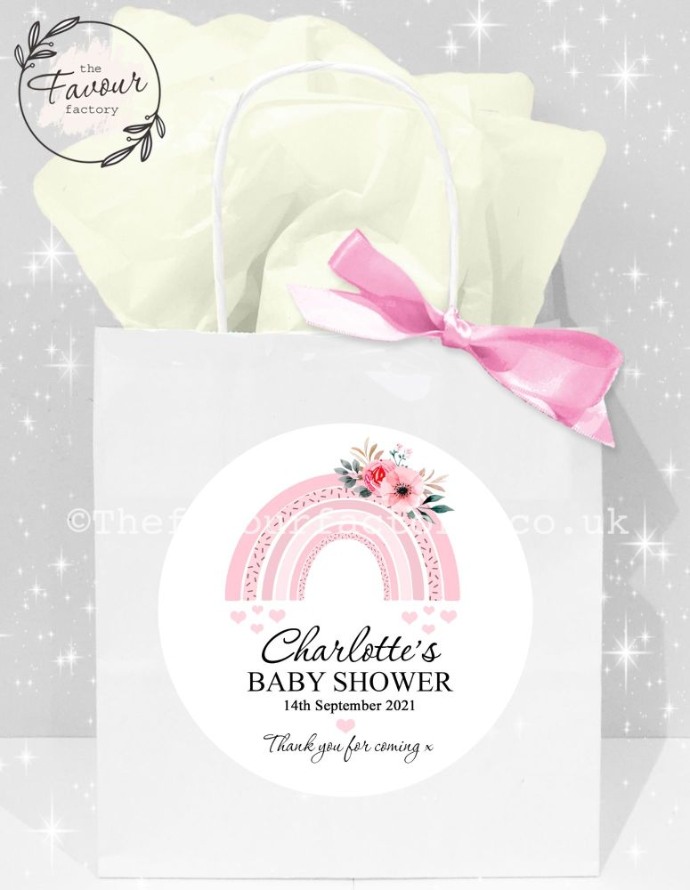 Baby Shower Party Bags Pink Floral Rainbow x1
