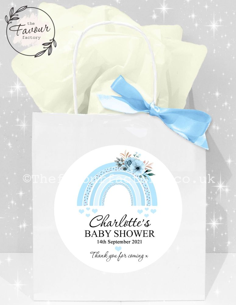 Baby Shower Party Bags Blue Floral Rainbow x1