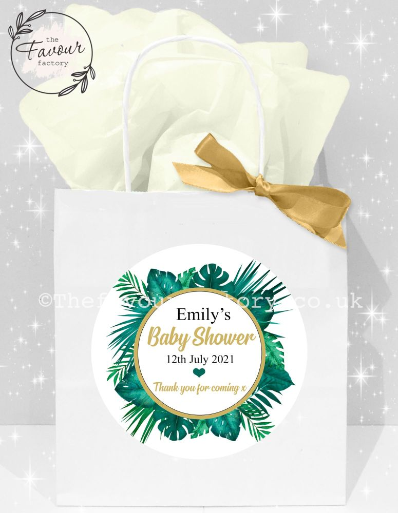 Baby Shower Party Bags Tropical Palm Leaves x1