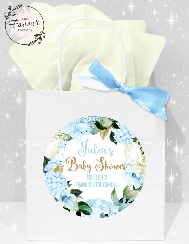 Baby Shower Party Bags Blue Hydrangeas x1