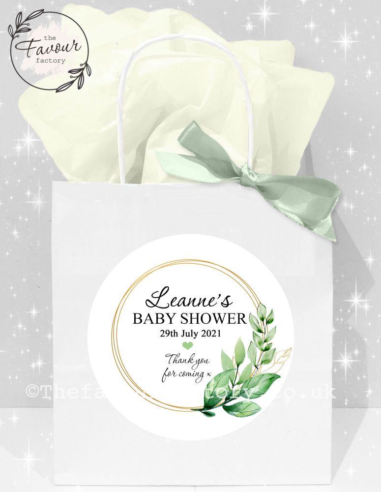 Baby Shower Party Bags Botanical Leaf Frame x1