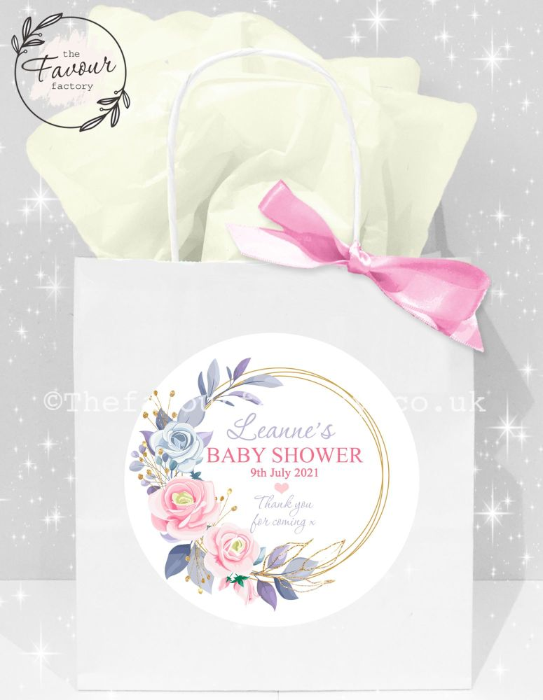 Baby Shower Party Bags Gold Floral Frame x1