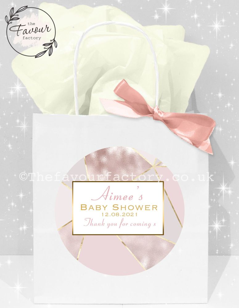 Baby Shower Party Bags Geometric Rose Gold x1