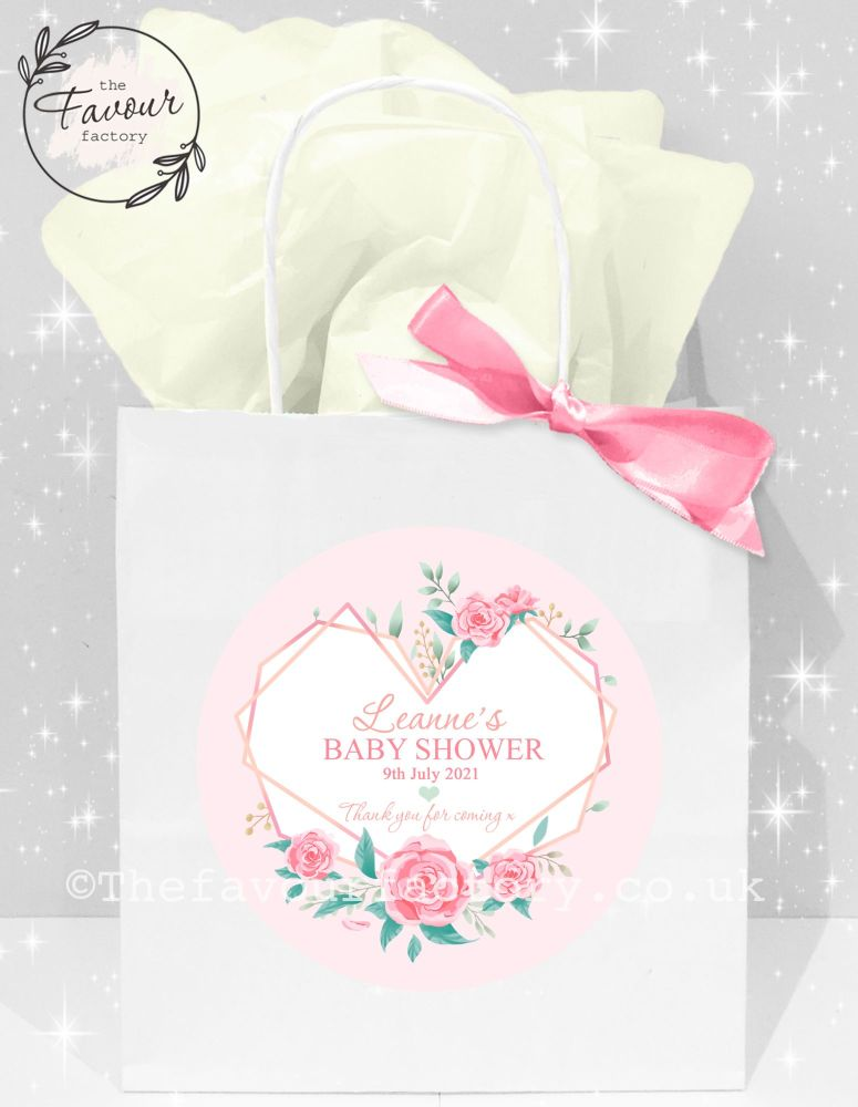Baby Shower Party Bags Geometric Floral Heart x1
