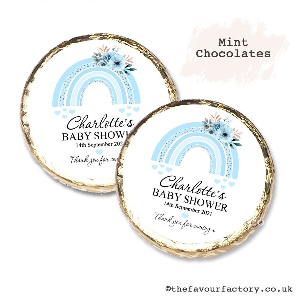 Baby Shower Mint Chocolates Personalised Blue Floral Rainbow x10