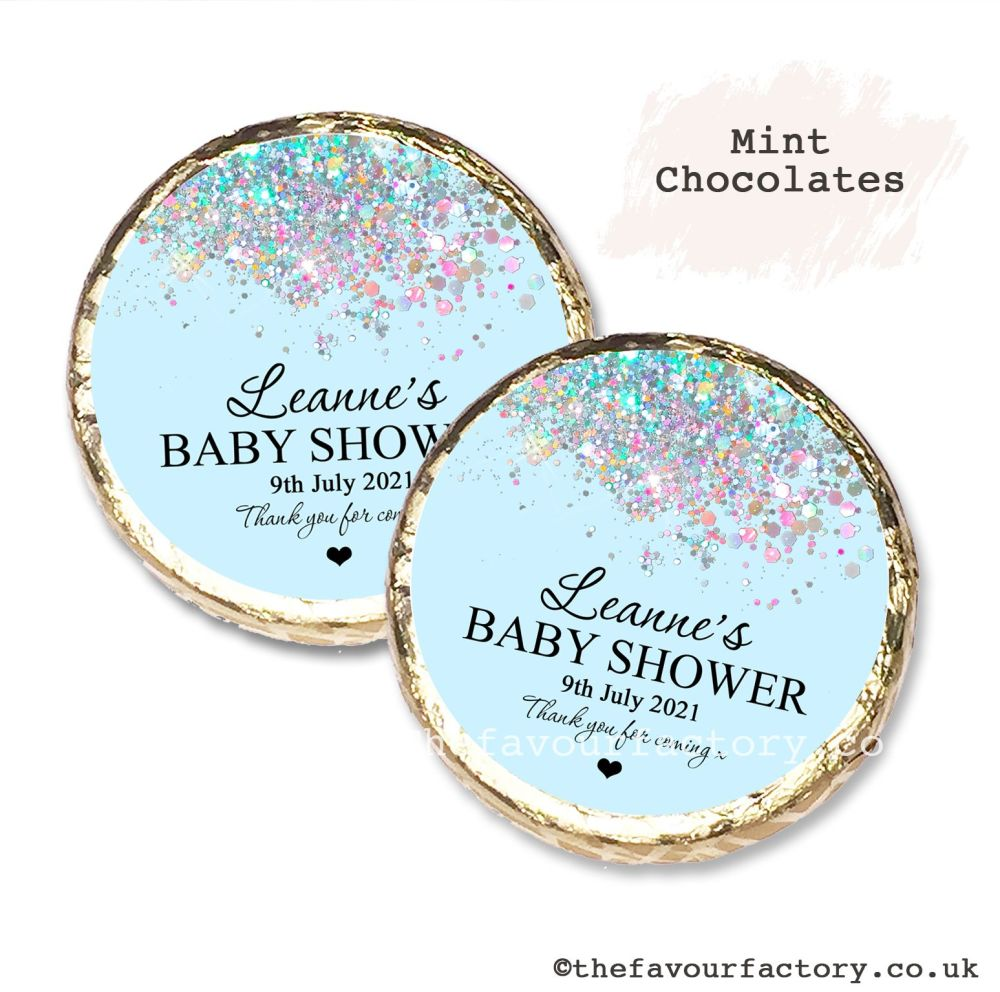 Baby Shower Mint Chocolates Personalised blue glitter x10