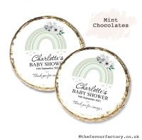 Baby Shower Mint Chocolates Personalised Green Floral Rainbow x10