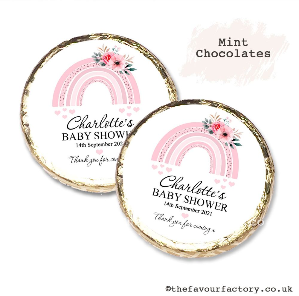 Baby Shower Mint Chocolates Personalised Pink Floral Rainbow x10