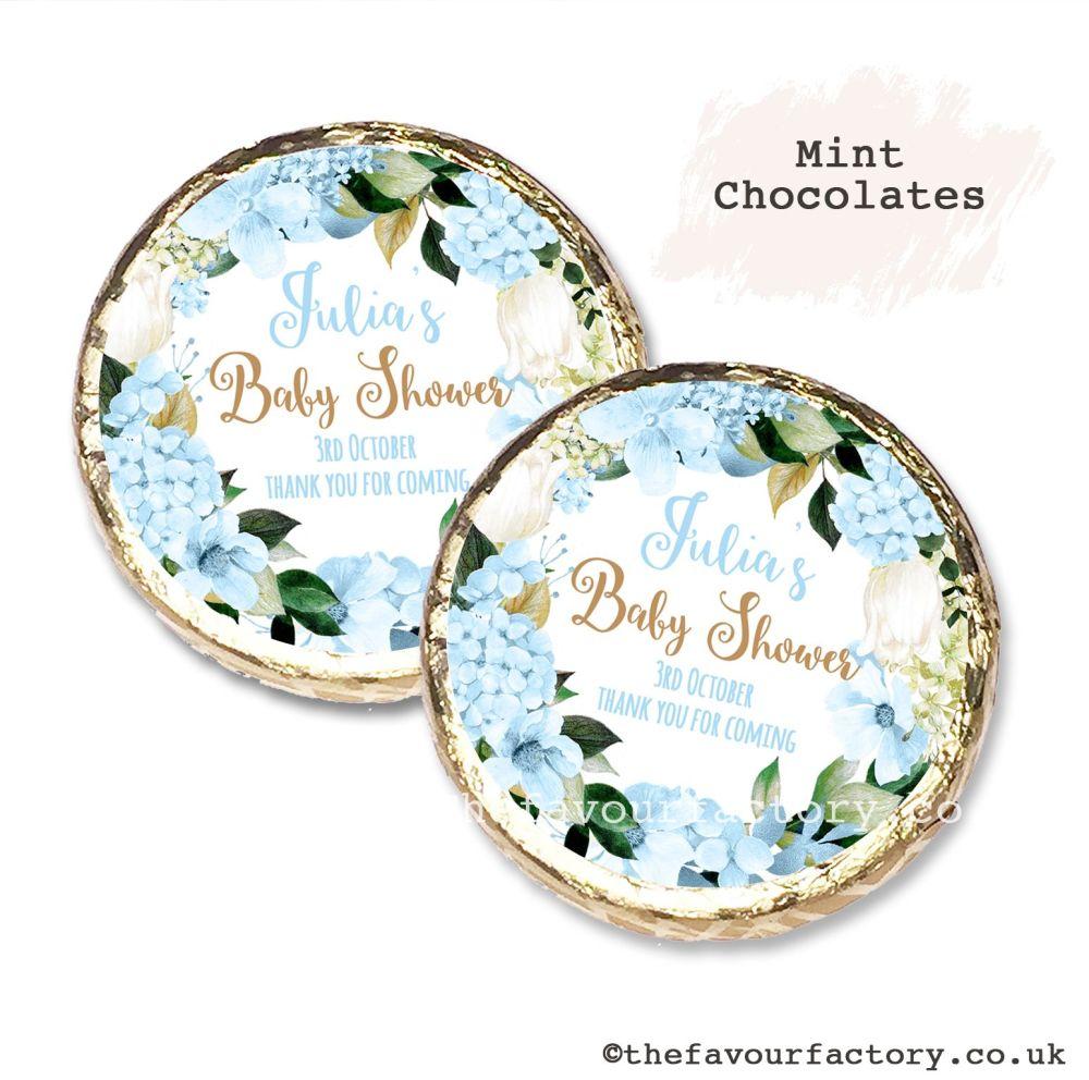 Baby Shower Mint Chocolates Personalised Blue Hydrangeas x10