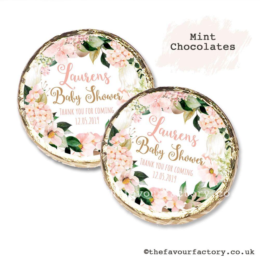 Baby Shower Mint Chocolates Personalised Blush Hydrangeas x10