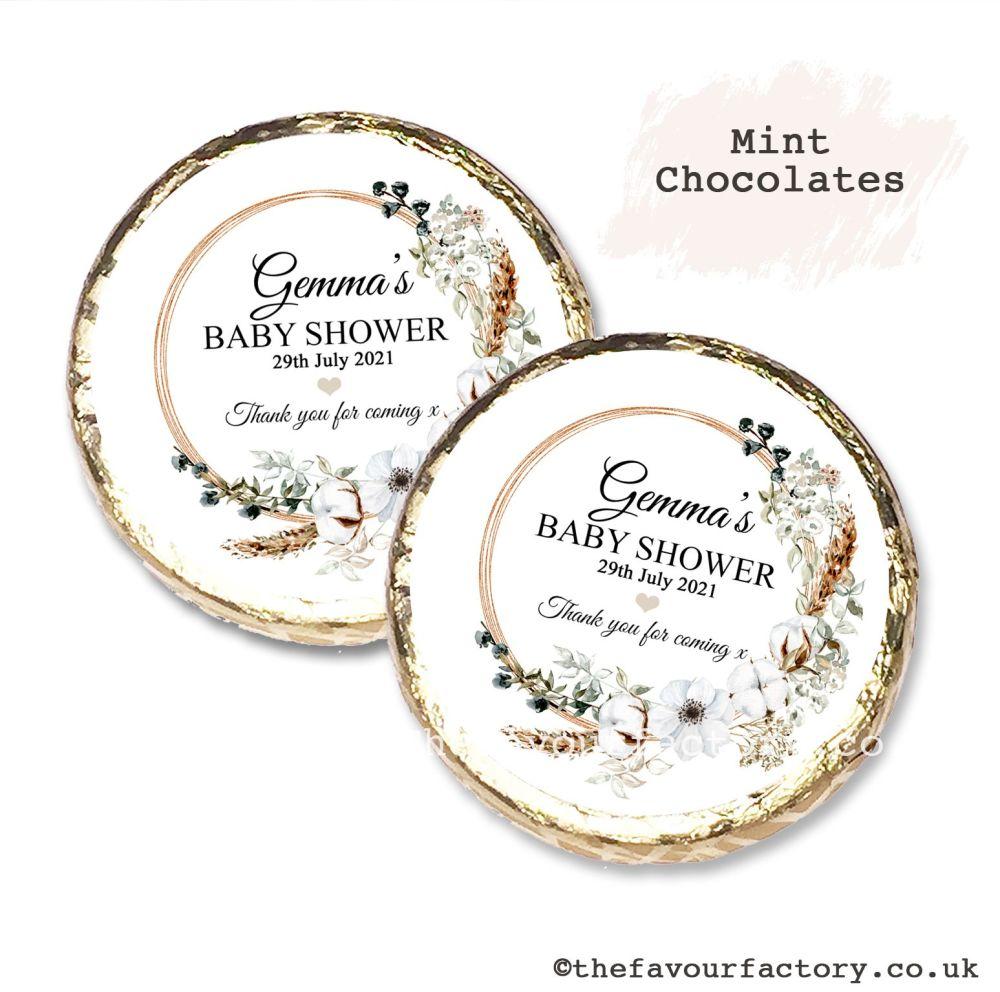 Baby Shower Mint Chocolates Personalised Bohemian Wreath x10