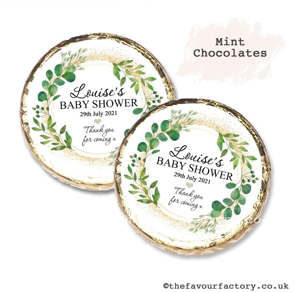 Baby Shower Mint Chocolates Personalised Botanical Gold Dust x10