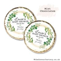 Baby Shower Mint Chocolates Personalised Botanical Gold Dust x10