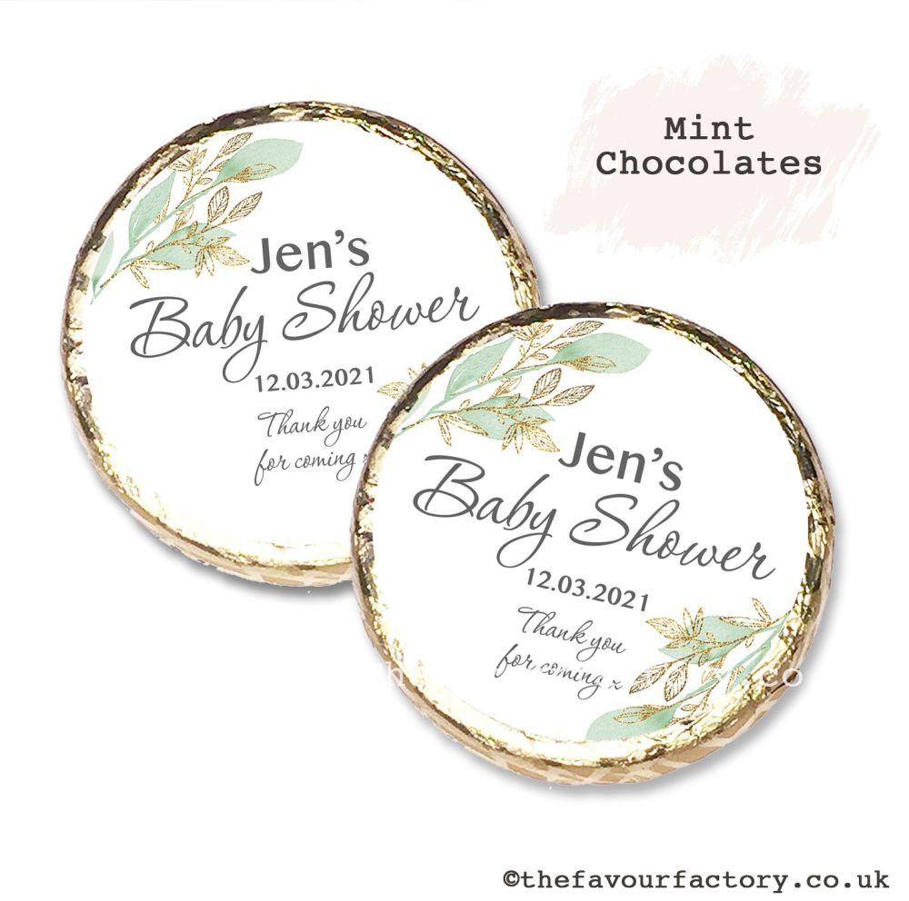 Baby Shower Mint Chocolates Personalised Botanical Gold Leaf x10