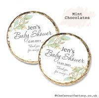 Baby Shower Mint Chocolates Personalised Botanical Gold Leaf x10