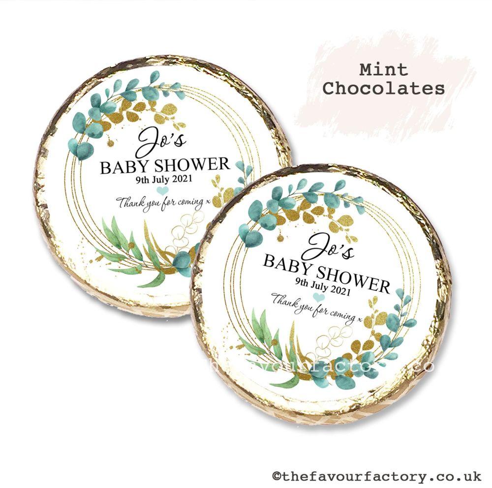 Baby Shower Mint Chocolates Personalised Eucalyptus Gold Leaf x10